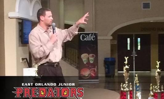 Image of Orlando Predators' HC Rob Keefe addressing Junior Predators Parents and Athletes