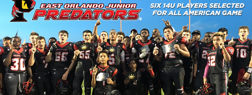 Six 14u EOJP players selected to play in Football Hotbed Middle School All American game in Miami, FL.