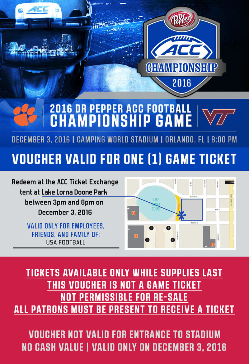 Voucher for FREE ticket to 2016 ACC Football Championship game